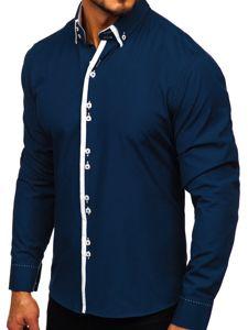 Рубашка мужская BOLF 1721-1 темно-синяя