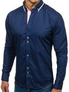 Рубашка мужская BOLF 6857 темно-синяя