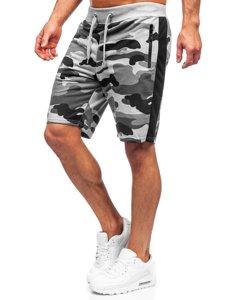 Серые спортивные мужские камуфляжные шорты Bolf K10037