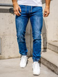 Темно-синие мужские джинсы джоггеры Bolf KA1539