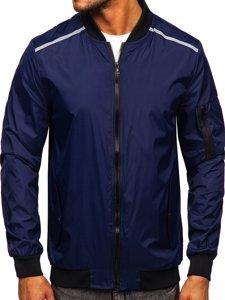 Темно-синяя мужская демисезонная куртка бомбер Bolf M10291