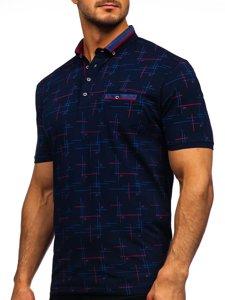 Темно-синяя мужская футболка поло с принтом Bolf 192232