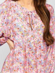 Фиолетовое платье женское в цветочек Bolf 3019