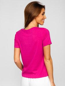 Фуксия женская футболка без принта Bolf SD211
