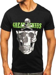 Черная мужская футболка с принтом Bolf Y70005