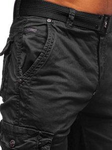 Черные мужские брюки карго с ремнем Bolf CT8906