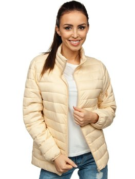 Бежева жіноча стьобана демісезонна куртка Bolf 20311