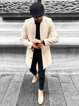 Бежеве чоловіче зимове пальто Bolf 0010