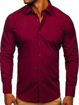 Бордова чоловіча елегантна сорочка з довгим рукавом Bolf SM19