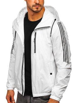 Біла демісезонна чоловіча спортивна куртка з капюшоном Bolf 6172