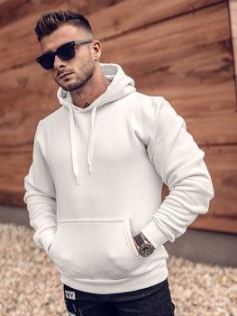 Біла толстовка з капюшоном чоловіча кенгуру Bolf 1004