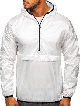 Біла чоловіча демісезонна спортивна куртка з капюшоном BOLF 5061
