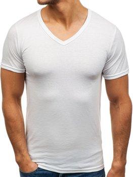 Біла чоловіча футболка без принта з v-подібним вирізом Bolf 1002