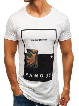 Біла чоловіча футболка з принтом Bolf 1014