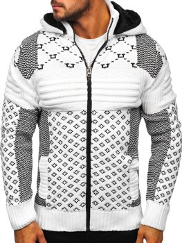 Білий чоловічий светр товстої в'язки Bolf 2060