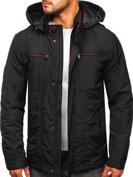 Графітова демісезонна чоловіча куртка з капюшоном Bolf bk026