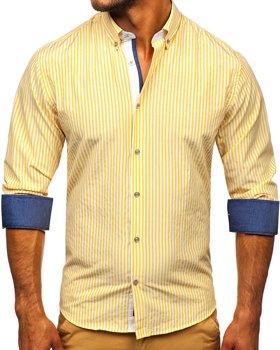 Жовта чоловіча сорочка в смужку з довгим рукавом Bolf 20704