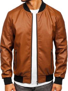Коричнева шкіряна куртка-бомбер чоловіча Bolf 1147