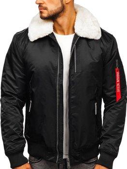 Куртка чоловіча демісезонна пілот чорна Bolf 1787