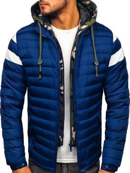 Куртка чоловіча демісезонна спортивна стьобана темно-синя Bolf 50A462