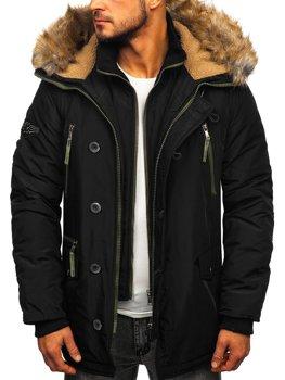 Куртка чоловіча зимова парка чорна Bolf 1045A