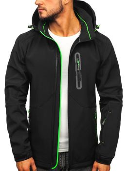 Куртка чоловіча софтшелл чорно-зелена Bolf 12263