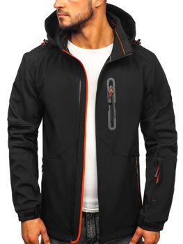 Куртка чоловіча софтшелл чорно-помаранчева Bolf 12263