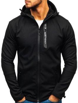 Мужская демисезонная куртка софтшелл черная Bolf 5480-A