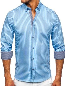 Синя чоловіча сорочка в смужку з довгим рукавом Bolf 20731