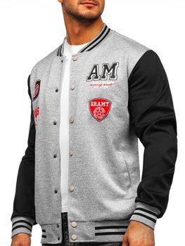 Сіра толстовка-куртка чоловіча тонка бейсбольна з принтом Bolf B10155