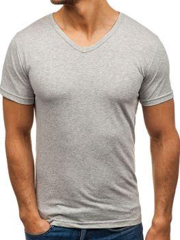 Сіра чоловіча футболка без принта з v-подібним вирізом Bolf 1002