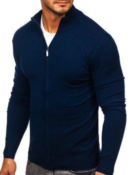 Темно-Синій Чоловічий светр на блискавці Bolf YY07