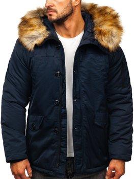 Темно-синя чоловіча зимова куртка парку Аляска Bolf JK355