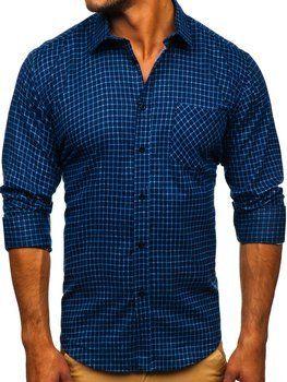 Темно-синя чоловіча фланелева сорочка з довгим рукавом Bolf F8