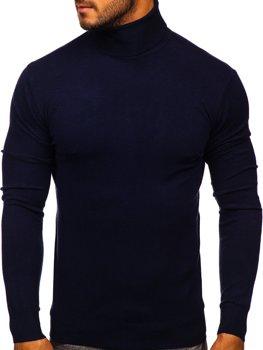 Темно-синій чоловічий светр гольф Bolf YY02