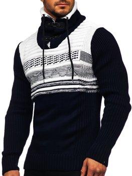 Темно-синій чоловічий светр товстої в'язки з коміром-стійкою Bolf 2020