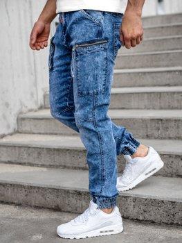 Темно-сині чоловічі джинсові штани джоггери-карго Bolf T352