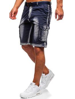 Темно-сині чоловічі шорти-карго з поясом Bolf BN241