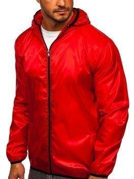 Червона чоловіча демісезонна куртка з капюшоном вітровка BOLF 5060