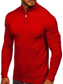 Червоний чоловічий светр з високим коміром стійка Bolf YY08
