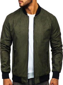 Чоловіча демісезонна куртка бомбер зелена Bolf 6117