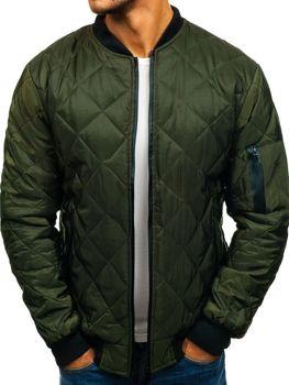Чоловіча демісезонна куртка-бомбер зелена Bolf AK76-A