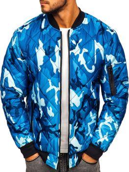 Чоловіча демісезонна куртка-бомбер камуфляж-синя Bolf MY01