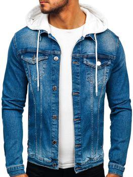 Чоловіча джинсова куртка з капюшоном темно-синя Bolf 606
