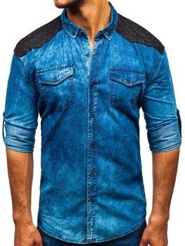 Чоловіча джинсова сорочка з візерунком з довгим рукавом синя Bolf 0517
