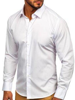 Чоловіча елегантна сорочка з довгим рукавом біла Bolf 0001