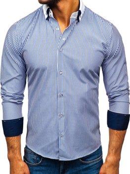 Чоловіча елегантна сорочка з довгим рукавом синя Bolf 0909-A