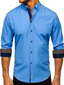 Чоловіча елегантна сорочка з довгим рукавом синя Bolf 8840-1