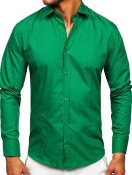 Чоловіча елегантна сорочка з довгим рукавом темно-зелена Bolf 1703