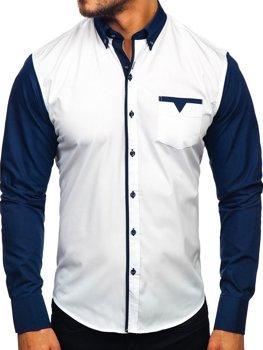 Чоловіча елегантна сорочка з довгим рукавом темно-синя Bolf 5726-1